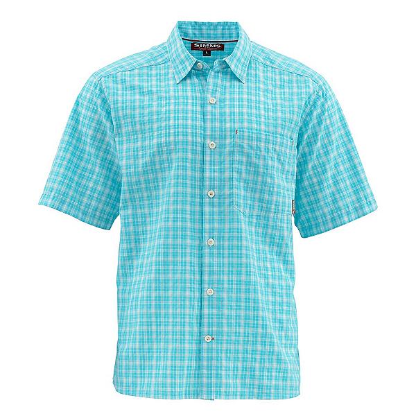 Simms Morada Short Sleeve Mens Shirt, Sea Blue Plaid, 600