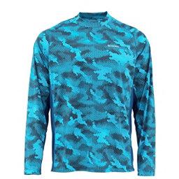 Simms Solarflex Crewneck Mens Shirt, Hex Camo Cobalt, 256