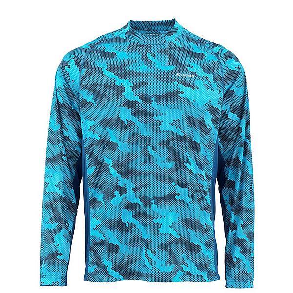 Simms Solarflex Crewneck Mens Shirt, Hex Camo Cobalt, 600