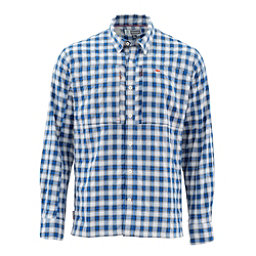 Simms Bugstopper Long Sleeve Mens Shirt, Admiral Blue Plaid, 256
