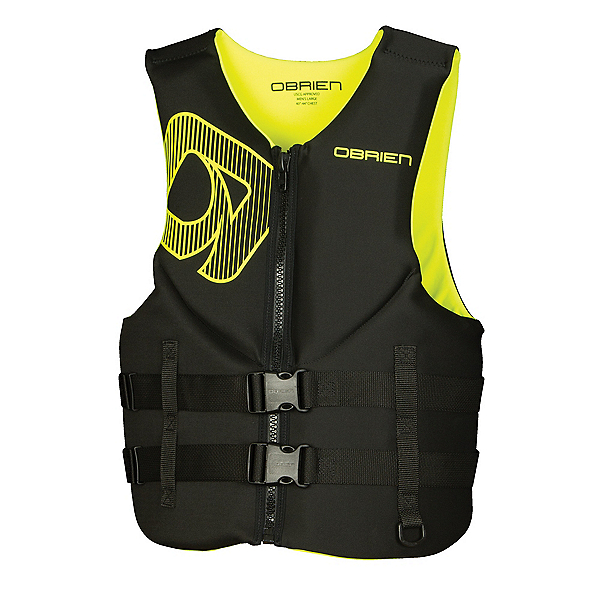 O'Brien Traditional Neoprene Adult Life Vest 2020, Black-Yellow, 600