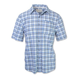 Purnell 4-Way Stretch Quick Dry Checkered Plaid Mens Shirt, Blue, 256
