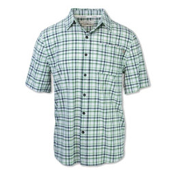 Purnell 4-Way Stretch Quick Dry Checkered Plaid Mens Shirt, Green, 256
