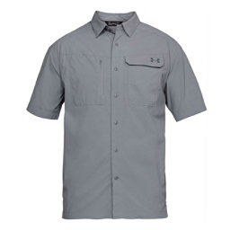 Under Armour Fish Hunter Short Sleeve Solid Mens Shirt, Steel-Graphite, 256