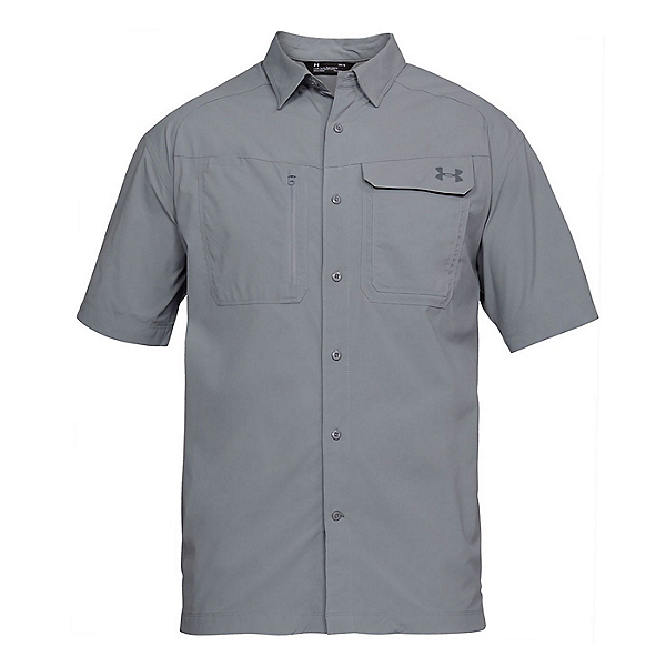 Under Armour Fish Hunter Short Sleeve Solid Mens Shirt, Steel-Graphite, 600