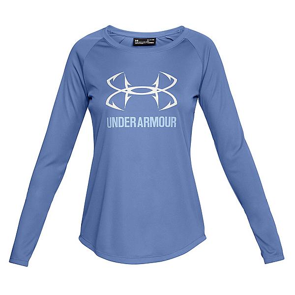 Under Armour Fish Hunter Tech Long Sleeve Womens Shirt, Talc Blue-Oxford Blue-White, 600