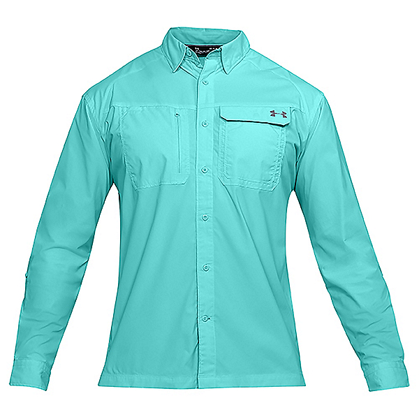 Under Armour Fish Hunter Long Sleeve Solid Mens Shirt, Tropical Tide-Graphite, 600