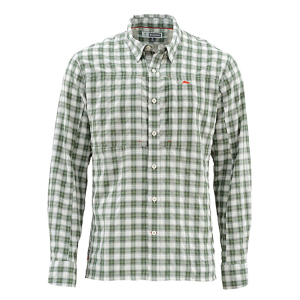 Simms Bugstopper Long Sleeve Mens Shirt, Kelp Plaid, 600