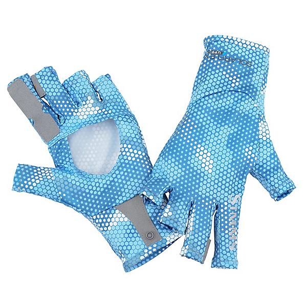 Simms Solarflex Sun Glove, Hex Camo Sky Blue, 600