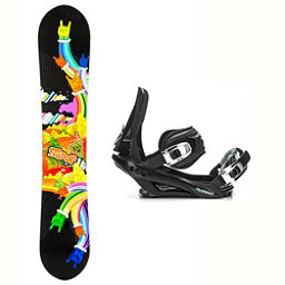 Black Fire Scoop Hands Stealth 3 Snowboard and Binding Package 2018, , 256