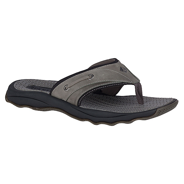 Sperry Outer Banks Thong Mens Flip Flops, Grey-Black, 600