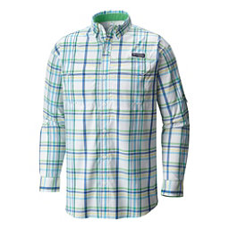 Columbia Super Low Drag Long Sleeve Mens Shirt, Emerald City Open Plaid, 256