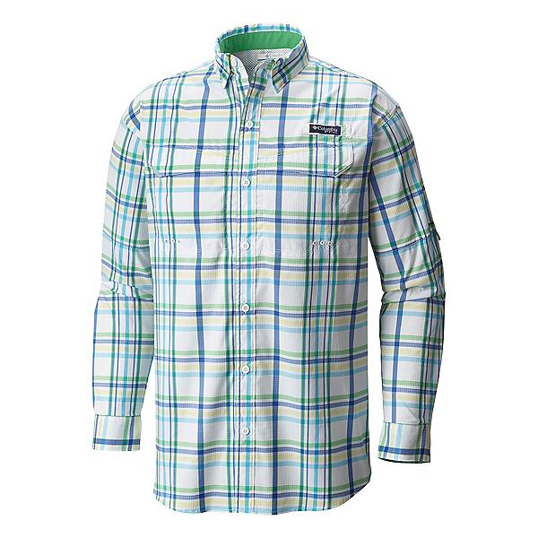 Columbia Super Low Drag Long Sleeve Mens Shirt, Emerald City Open Plaid, 600