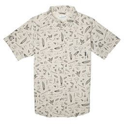 Columbia Pilsner Peak Print Short Sleeve Mens Shirt, Chalk-Sam Larson, 256