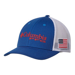 Columbia PFG Mesh Snap Back Hat, Mountain Blue-Usa Flag, 256