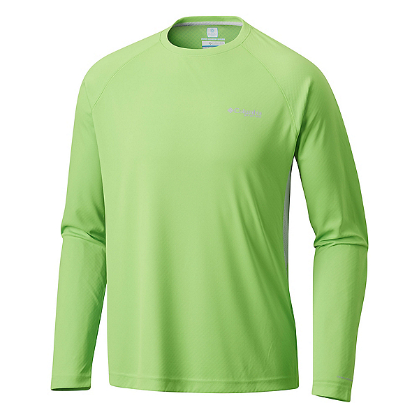Columbia Cast Away Zero II Knit Long Sleeve Mens Shirt, Green Mamba-Cool Grey, 600