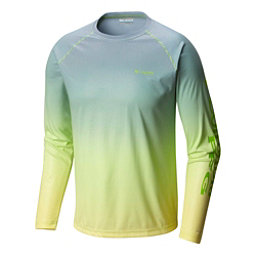 Columbia Solar Shade Printed Long Sleeve Mens Shirt, Green Mamba Gradient, 256