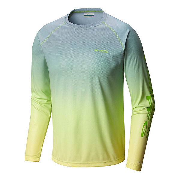 Columbia Solar Shade Printed Long Sleeve Mens Shirt, Green Mamba Gradient, 600