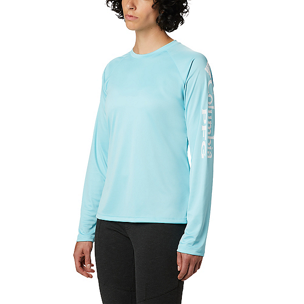 Columbia Tidal Tee II Long Sleeve Womens Shirt, Clear Blue-White, 600