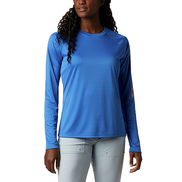 Columbia Tidal Tee II Long Sleeve Womens Shirt, Stormy Blue-Light Coral, 600