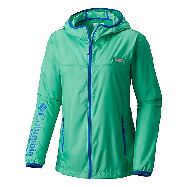 Columbia Tidal Windbreaker Womens Jacket, Winter Green-Blue Macaw, 600