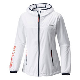 Columbia Tidal Windbreaker Womens Jacket, White-Collegiate Navy-Sunset R, 256