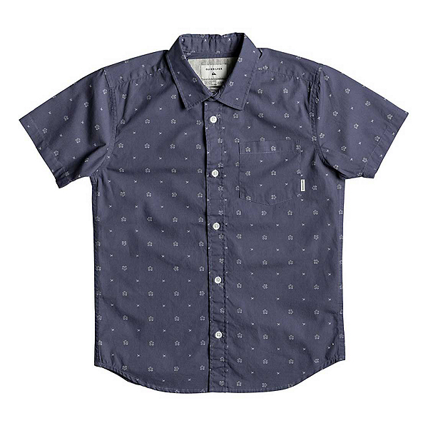 Quiksilver Kamanoa Short Sleeve Mens Shirt, Vintage Indigo Kamanoa, 600