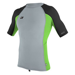 O'Neill Skins Short Sleeve Mens Rash Guard, Cool Grey-Dayglo-Black, 256