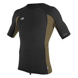 O'Neill Skins Short Sleeve Mens Rash Guard, Black-Khaki-Black, 256