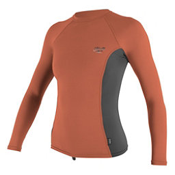 O'Neill Skins Long Sleeve Womens Rash Guard, Coral Punch-Graphite-Coral Pun, 256