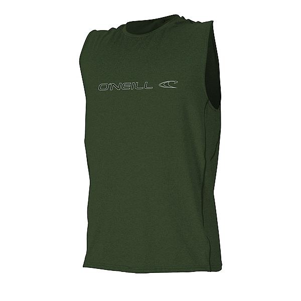 O'Neill Hybrid Sleeveless Tee Mens Rash Guard, Dark Olive, 600
