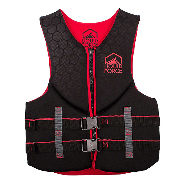 Liquid Force Hinge Classic Adult Life Vest 2020, Black-Red, 600