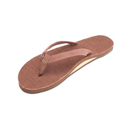 Rainbow Sandals Single Layer Hemp Narrow Womens Flip Flops, Brown, 256