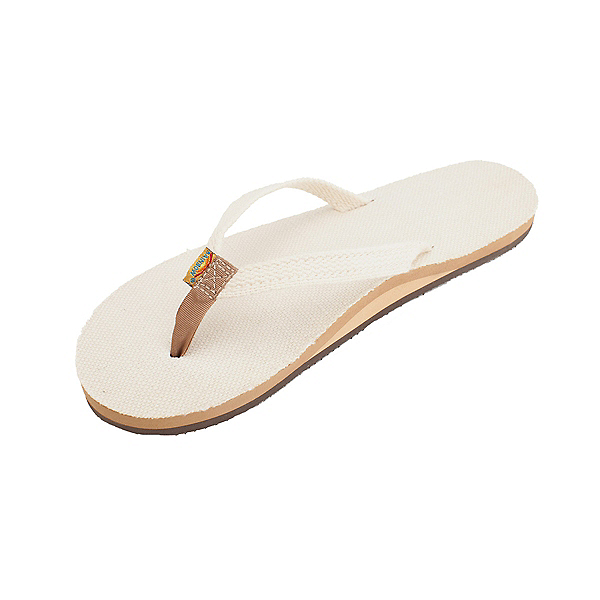 Rainbow Sandals Single Layer Hemp Narrow Womens Flip Flops, Natural, 600
