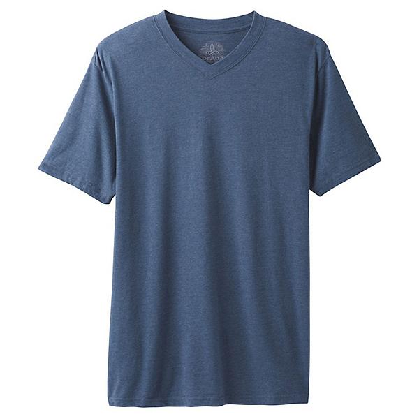 Prana V-Neck Mens T-Shirt, Denim Heather, 600