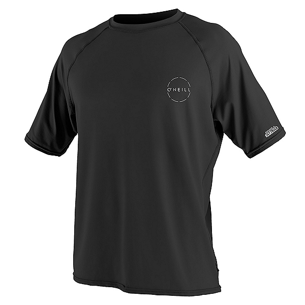 O'Neill 24-7 Traveler Short Sleeve Sun Shirt Mens Rash Guard, Black, 600
