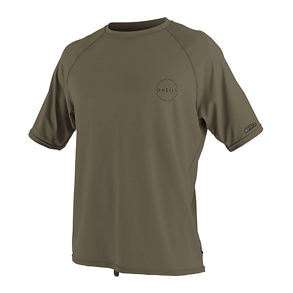 O'Neill 24-7 Traveler Short Sleeve Sun Shirt Mens Rash Guard (Previous Season), Khaki, 600