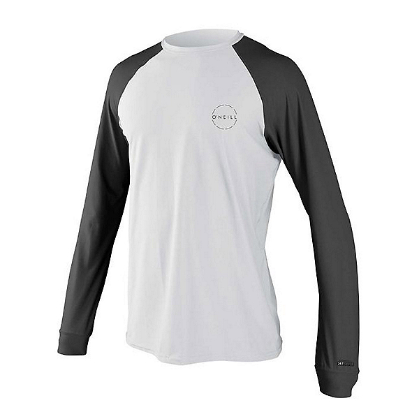 O'Neill 24-7 Traveler Long Sleeve Sun Shirt Mens Rash Guard 2020, White-Graphite, 600