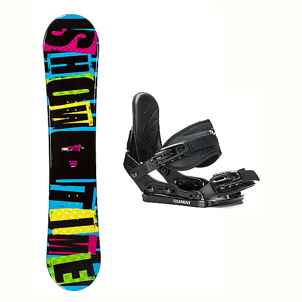 2B1 Showtime Blue Stealth Kids Kids Snowboard and Binding Package 2018, , 600