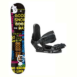 SLQ Aqua Stealth Kids Kids Snowboard and Binding Package 2018, , 256