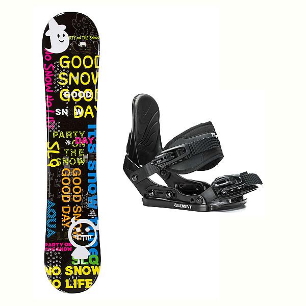 SLQ Aqua Stealth Kids Kids Snowboard and Binding Package, , 600