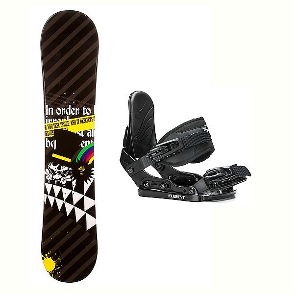 SLQ Black Rainbow Rocker Stealth Kids Kids Snowboard and Binding Package, , 600