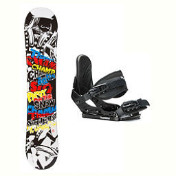 SLQ Champ Stealth Kids Kids Snowboard and Binding Package 2018, , 256