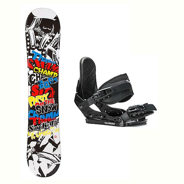 SLQ Champ Stealth Kids Kids Snowboard and Binding Package 2018, , 600