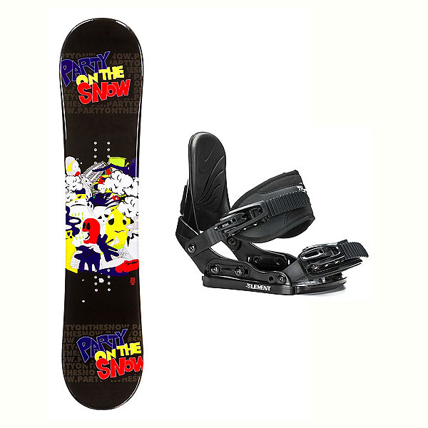 SLQ Flip Flat Stealth Kids Kids Snowboard and Binding Package 2018, , 600