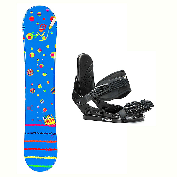 SLQ Multi Blue Stealth Kids Kids Snowboard and Binding Package 2018, , 600