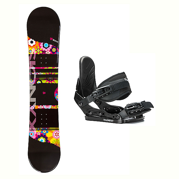 Sionyx Flower Girl Black Stealth Girls Snowboard and Binding Package, , 600