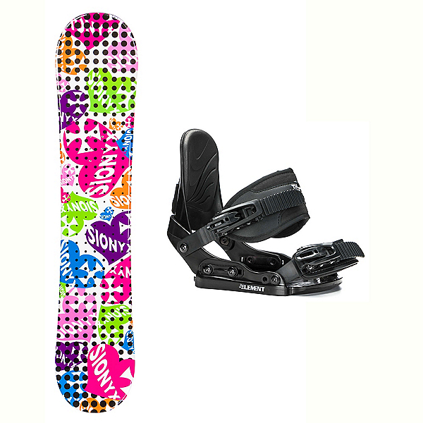 Sionyx Hearts White Stealth Girls Snowboard and Binding Package 2018, , 600
