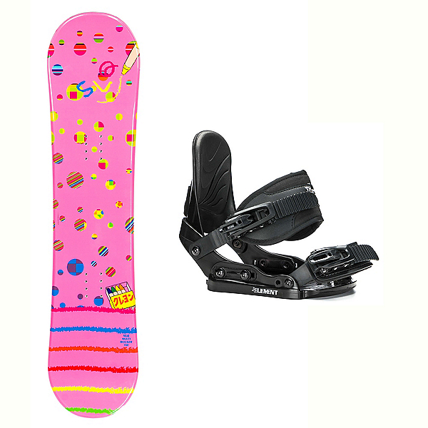 SLQ Multi Pink Rocker Stealth Girls Snowboard and Binding Package 2018, , 600