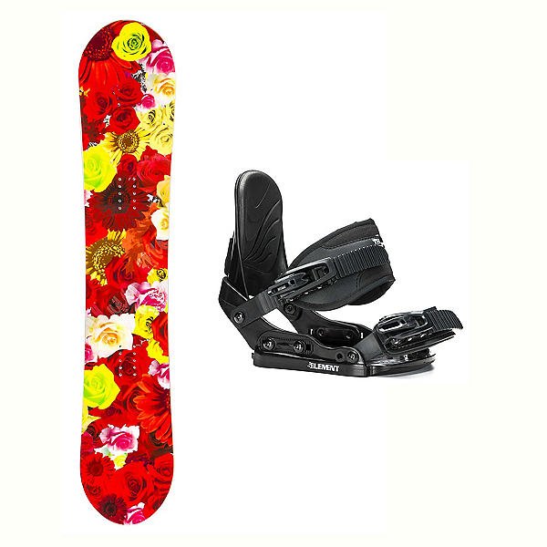 SLQ Secret Red Hybrid Stealth Girls Snowboard and Binding Package 2018, , 600